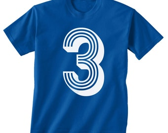 3rd BIRTHDAY -- KIDS T shirt -- soccer number 3 Size 2t, 3t, 4t, youth xs, yth sm, yth med, yth lg ( 7 COLORS ) skip n whistle
