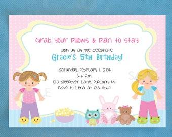 Sleepover Birthday Invitations, Pajama Party Invitations - PRINTED Invitations