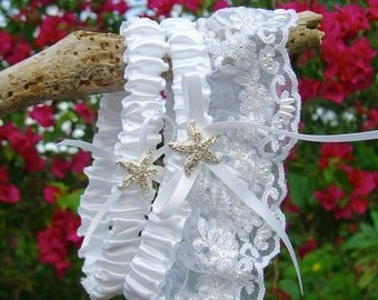 Beach Wedding White Lace Starfish Garter Set, Silver Crystal Starfish, Beach Wedding,Bridal Garter,White Garter Set, Vegan Friendly