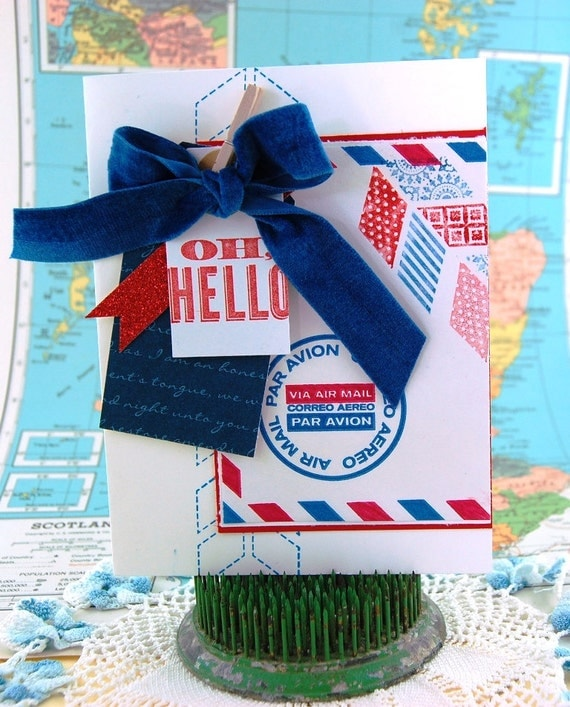 An Airmail Hello Handmade Card Baby
