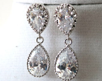 Darcy - Cubic Zirconia Teardrop Earrings, Gifts for her, Bridal Earrings, Bridesmaid earrings, Silver White Wedding, everyday classics