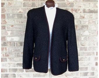 1980s wool jacket, nubby tweed jacket, Tan Jay jacket, Black wool jacket, Size S/M
