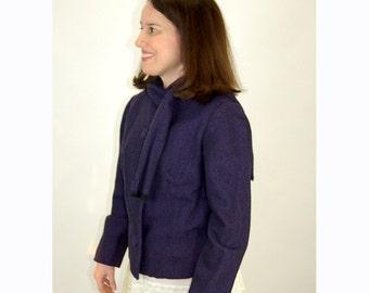 1950s wool jacket, purple jacket, jacket with attached scarf, peter pan collar, tweed blazer