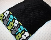 Guitars and Black Minky Dot Pillowcase for 12x16 Small Pillow- Michael Miller Groovy Guitars Fabric- Small Minky Pillowcase- Nap Mat Pillow