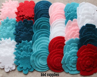Frosted Sweets - Super Pack - 132 Die Cut Felt Flowers and Circles