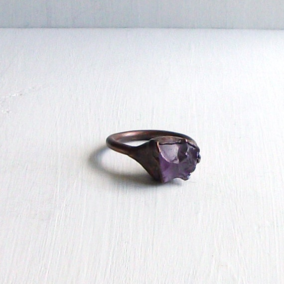 Amethyst Ring Cocktail Ring Gemstone Ring Birthstone Ring February Purple Violet Plum Rough Stone Ring