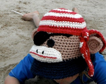 CROCHET HAT PATTERN Sock Monkey Crochet Sunhat  Ahoy Matey  Newborn to Adult