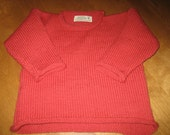 Pullover Sweater, Rolled Neck Sweater,Child Size 2 Sweater, Red Sweater 100% Wool,Knit Sweater Ready to Ship