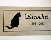 "Free Shipping- Cat Memorial Plaque - 12x6  ""Ricochet"" Design -  Italian Porcelain Personalized  Sandblasted Engraving"