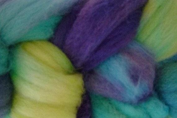 Wool Roving Hand Dyed in Mermaid Cove