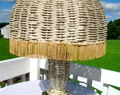Early 20s/30s Burlesque Wicker Fringed Bohemian Lamp Cottage Chic