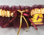 Central Michigan Chippewas Wedding Garter, Handmade, Can Be Personalized