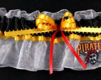 Pittsburgh Pirates Wedding Garter, Handmade, Can Be Personalized