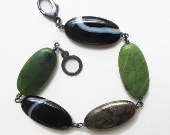 Banded Agate, Jade, Pyrite Bracelet Sterling Silver
