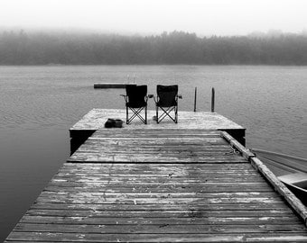 Black and white Dock Photograph  On the Dock   fine art print  two chairs on dock photo new england foggy lake photo home decor