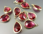 5060G-RU (2 pcs) Ruby / Gold Faceted long teardrop glass pendants