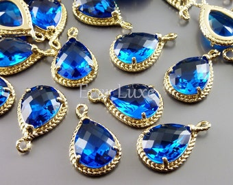 2 Capri blue glass stone pendants with gold rope rim / charming pendants with gold frame 5054G-CB (bright gold, capri blue, 2 pieces)