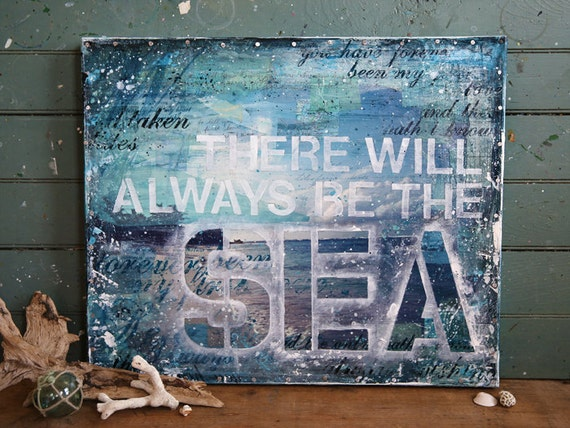 "DISCOUNTED!  Always No. 2 - 24""x20"" original mixed media painting - blue teal beach collage, word art typography text with found paper"