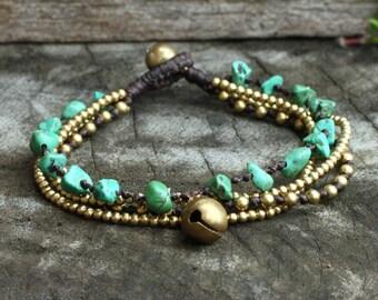 Green Turquoise Brass Chain Bracelet