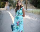 1970's Teal Floral Maxi Dress - gorgeous boho style floral long dress- hippie dress