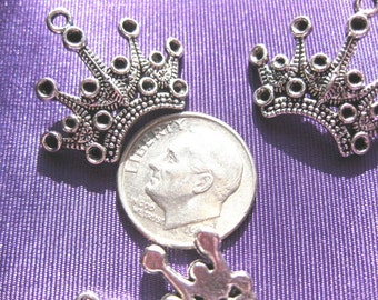 Crown Charm 3 pieces Tibetan Silver Jewelry Supply