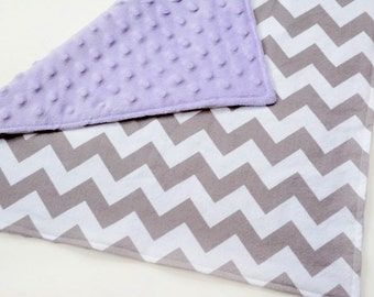 Baby Security Blankets, Infant Girl Lovey, Lavender & Gray Chevron, Baby Lovey, Shower gift