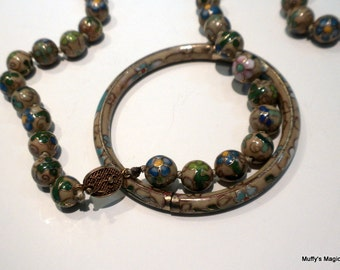 Yellow Cloisonne Necklace Bracelet Hinged