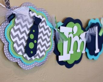 Little Man Neck Tie Chevron Stripe Polka Dot I'm 1 HighChair Banner Navy Blue Gray Turquoise Green Baby Shower Birthday Party Decorations