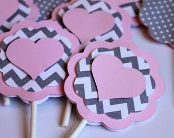 Heart Light Baby Pink Gray Chevron Stripe Polka Dot CUPCAKE TOPPERS Girl Shower Shabby Chic Elephant Birthday Party Wedding Love Valentine