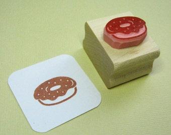 Donut Stamp - Tasty Doughnut Hand Carved Rubber Stamp - Food Gift - Gift for Foodie - Cake Rubber Stamp - Donut Gift - Stocking Stuffer