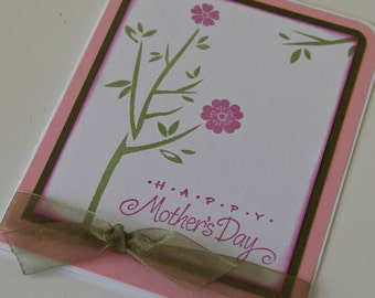 Mothers Day Card, Card for Mom with Stamped Cherry Blossoms, Feminine Mother's Day Card (MD1401)
