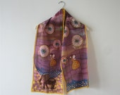 Hand painted silk satin scarf (purple yellow royal blue colors, fantasy)