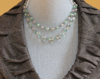 Vintage Double Strand Purple, Green, Blue and Clear Beaded Faceted Glass Necklace