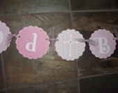 God Bless Plus Name Banner - Christening Baptism Party Sign Banner - Pink God Bless Sign Banner Custom Made to Match Your Party or Event