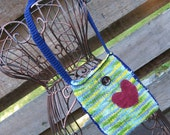Happy Heart Bag - Handknit bag
