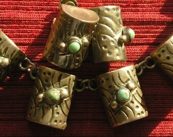 Mexico Sterling Silver Turquoise Barrel Cylinder Necklace and Earrings Set