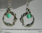 Swaying Pewter with Swarovski Turquoise Mermaid Earrings