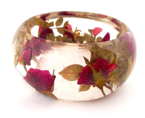 Red Resin Bangle.  Chunky Rosebud Bangle Bracelet.  Real Flower and Leaf Bracelet.  Pressed Flower Bangle Cuff. Engraved Personalized Gift
