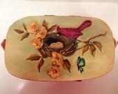 Wood Box Purse // Small Red Bird Nesting Motif Mid Century Arts & Crafts
