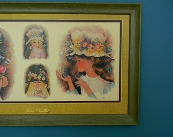 Vintage 1960s Framed Wall Hanging - Girls in Flowered Hats