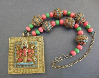 Beautiful Hindu God Goddess Lakshmi Art Glass Antique Bead Vintage Necklace