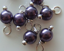 10 - Hand wrapped in Silver 4mm Purple Glass Pearl Dangles-Charms