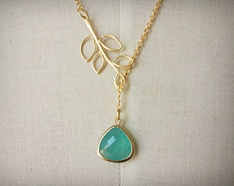 gold branch with green aventurine glass stone lariat necklace gold plating chain necklace