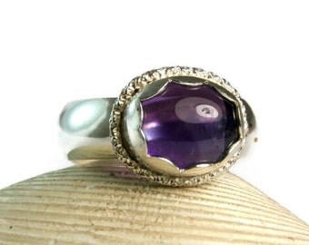 Sterling Silver Amethyst Ring, February Birthstone, Everyday Jewelry, Natural stone Ring, custom size