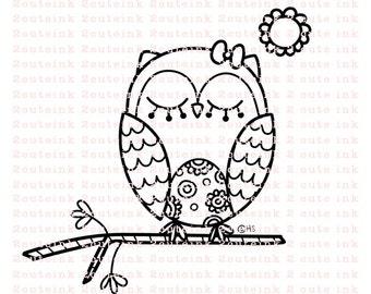 Owl Doodle Digital Stamp for Card Making