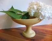 Vintage Yellow Ceramic Planter/ Pedestal planter