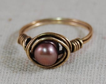 Antique Brass Wire Wrapped Ring with Fresh Water Pearl