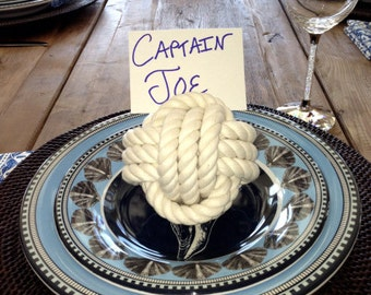 Coastal Wedding Rope Knot 8 Table Number Holders for your Seaside Wedding White Monkey Fist Rope  Knots