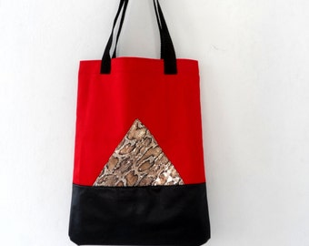 Tote Bag, Red Black Geometric with Metallic Snake Skin, Cotton and Leather Large Tote