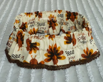 "Thanksgiving Dog Scrunchie Collar, Gobble Wobble with petite pom poms - Size XXL: 20"" to 22"" neck - TrY Me PRicE"